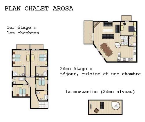 Plan descriptif du Chalet Arosa, location de chalet en été à Val d'Isère, Savoie