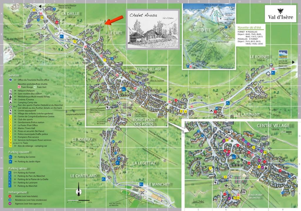 Emplacement du Chalet Arosa, location de chalet en été à Val d'Isère, Savoie
